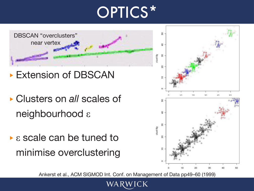 OPTICS* ‣ ‣ Extension of DBSCAN ‣ ‣ Clusters on...