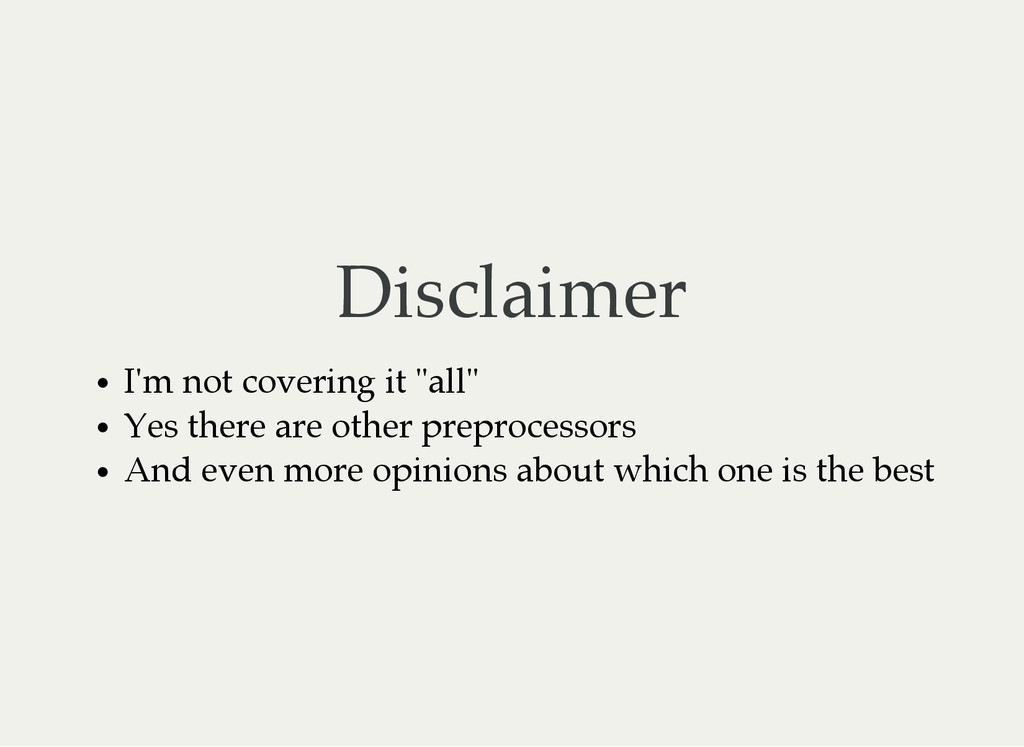 """Disclaimer I'm not covering it """"all"""" Yes there ..."""