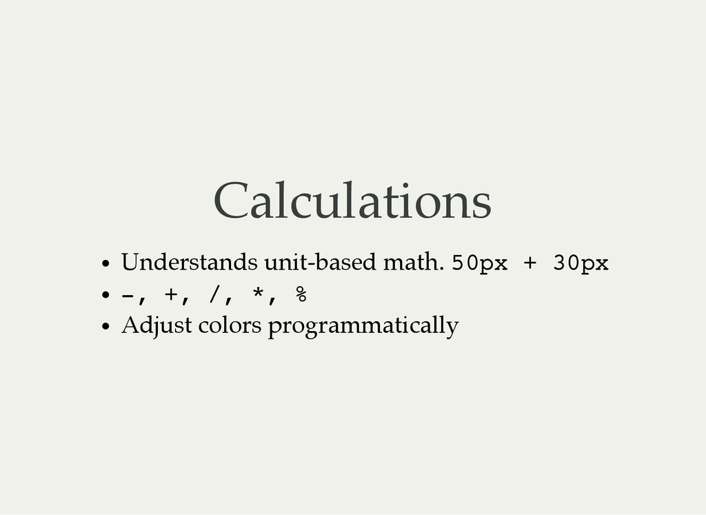 Calculations Understands unit-based math. 5 0 p...
