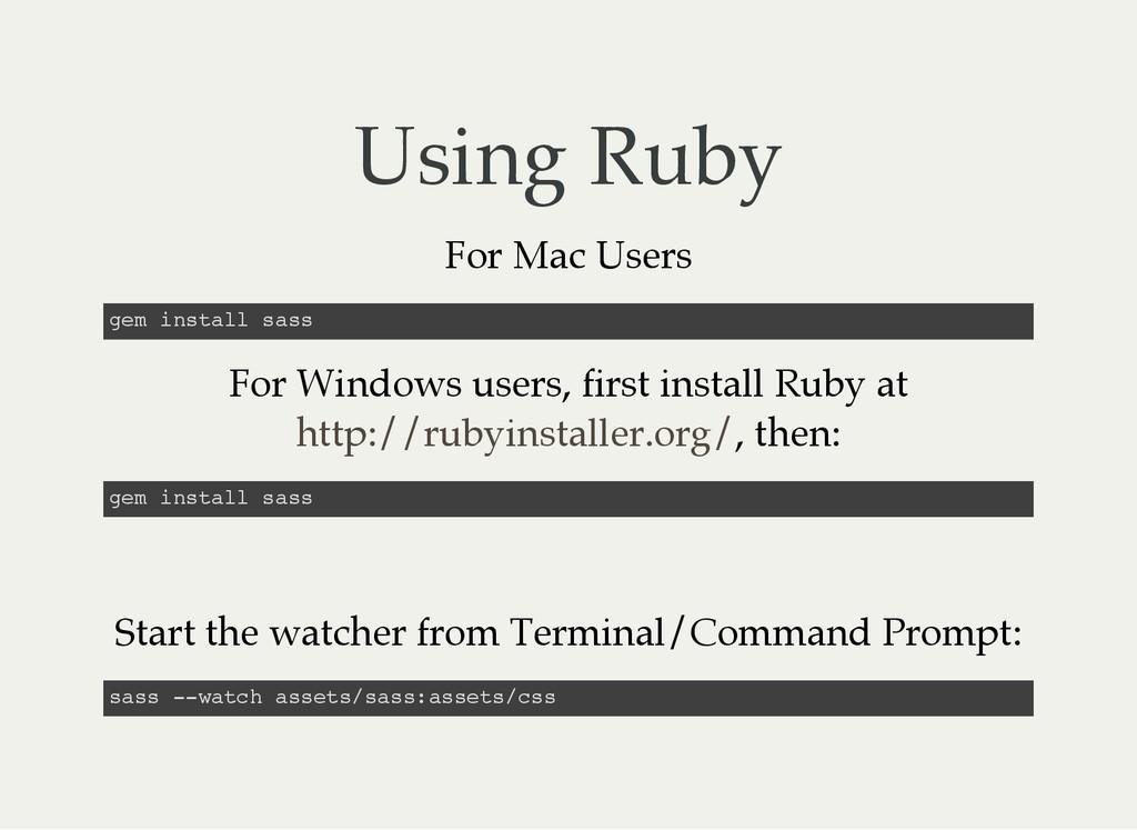 Using Ruby For Mac Users g e m i n s t a l l s ...