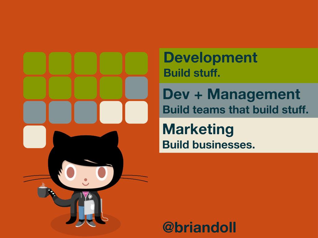 Dev + Management Build teams that build stuff. ...