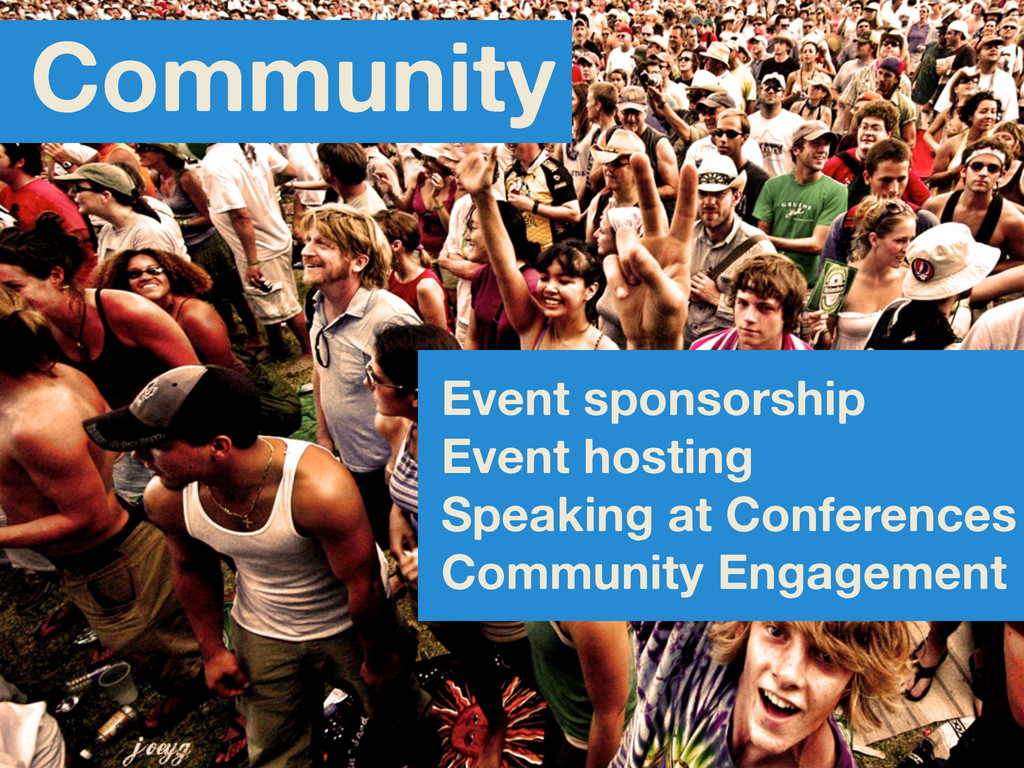 Event sponsorship Event hosting Speaking at Con...