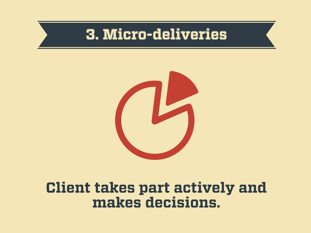 3. Micro-deliveries Client takes part actively ...