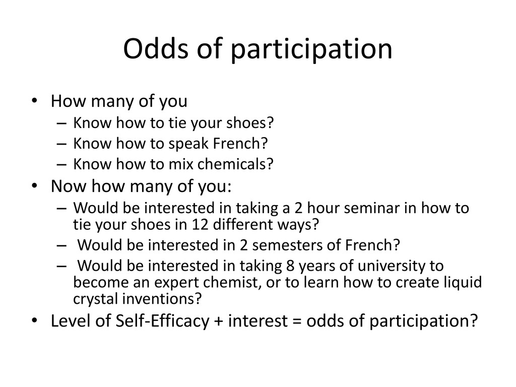 Odds of participation • How many of you – Know ...