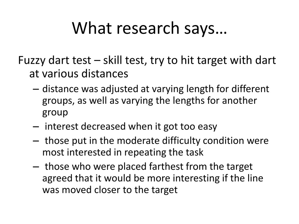 What research says… Fuzzy dart test – skill tes...
