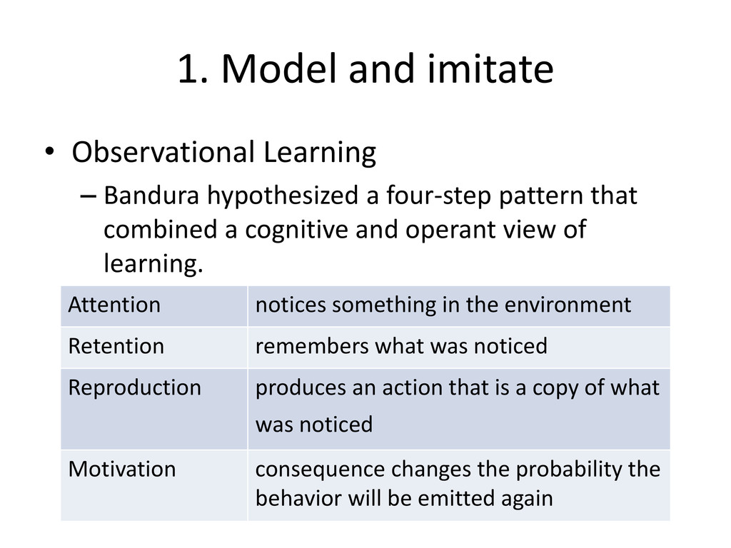 1. Model and imitate • Observational Learning –...