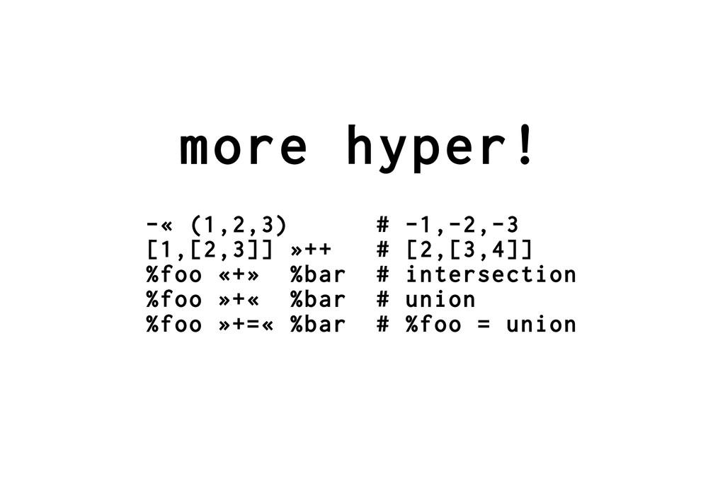more hyper! -« (1,2,3) # -1,-2,-3 [1,[2,3]] »++...