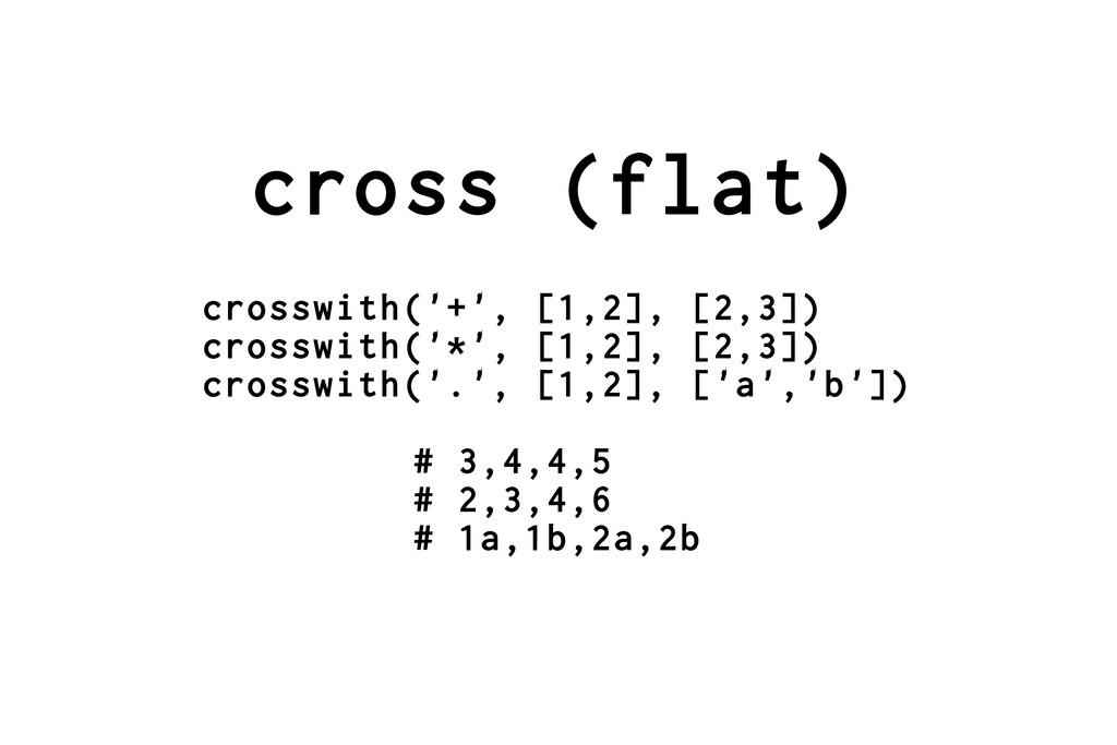 cross (flat) crosswith('+', [1,2], [2,3]) cross...
