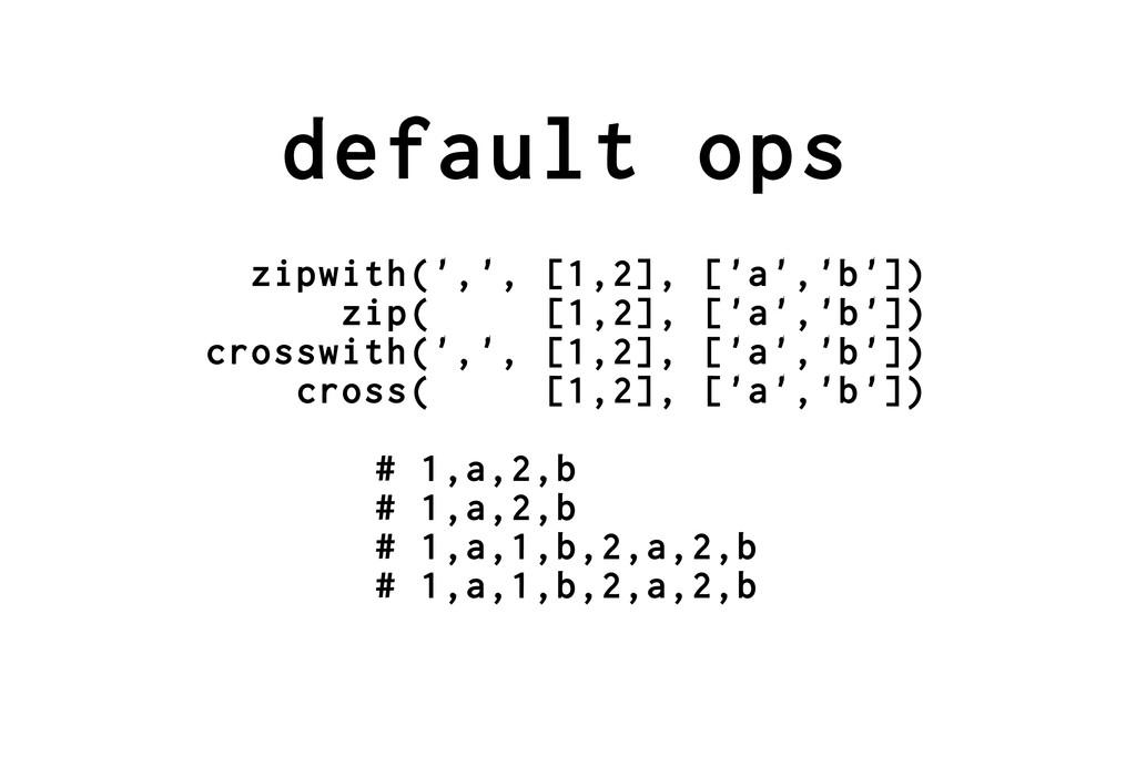 default ops zipwith(',', [1,2], ['a','b']) zip(...