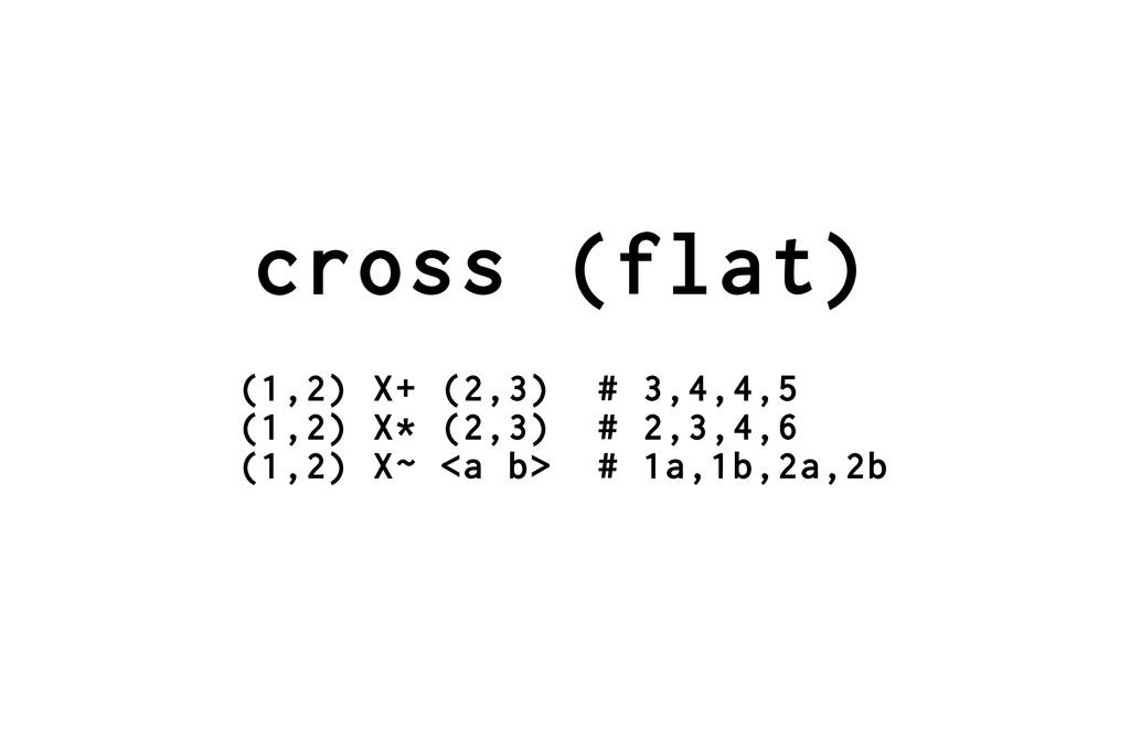cross (flat) (1,2) X+ (2,3) # 3,4,4,5 (1,2) X* ...