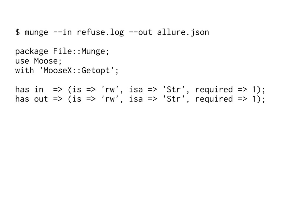 $ munge --in refuse.log --out allure.json packa...