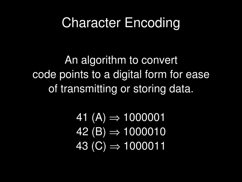 An algorithm to convert code points to a digita...