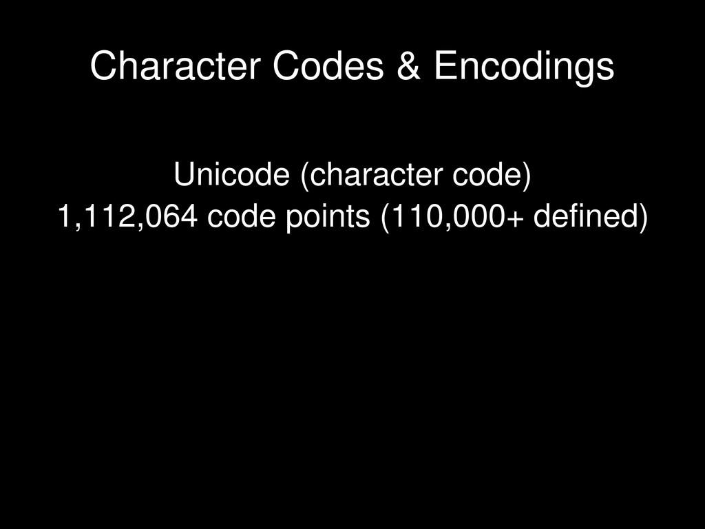 Unicode (character code) 1,112,064 code points ...