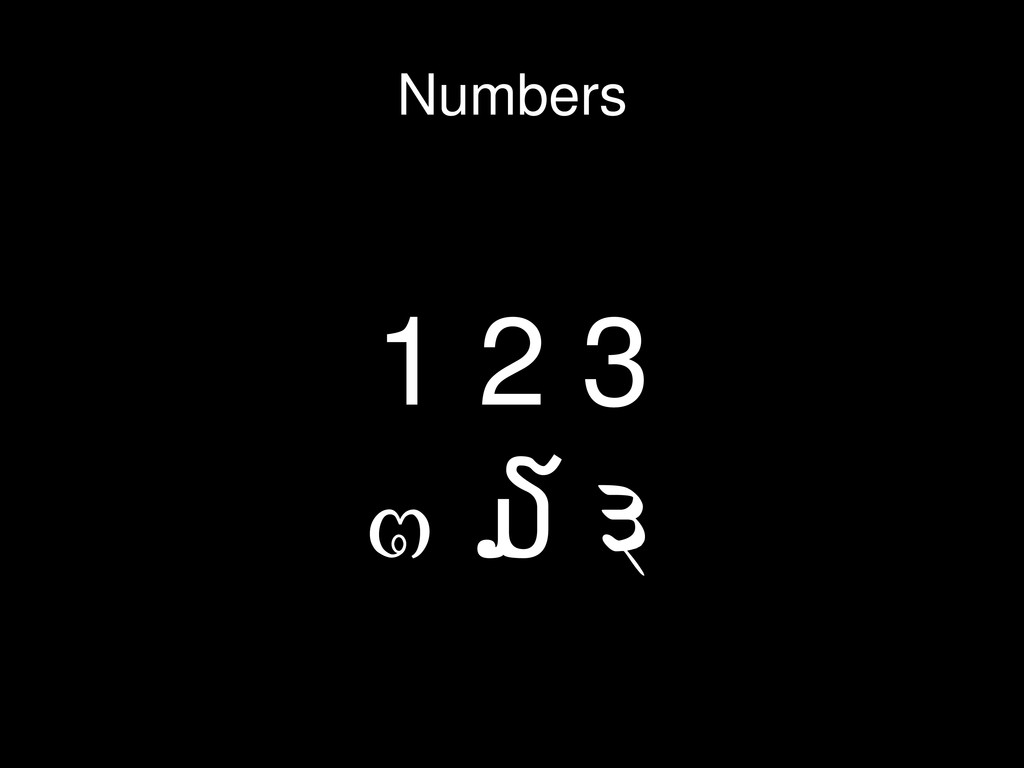1 2 3 ໓ ๓ ३ Numbers