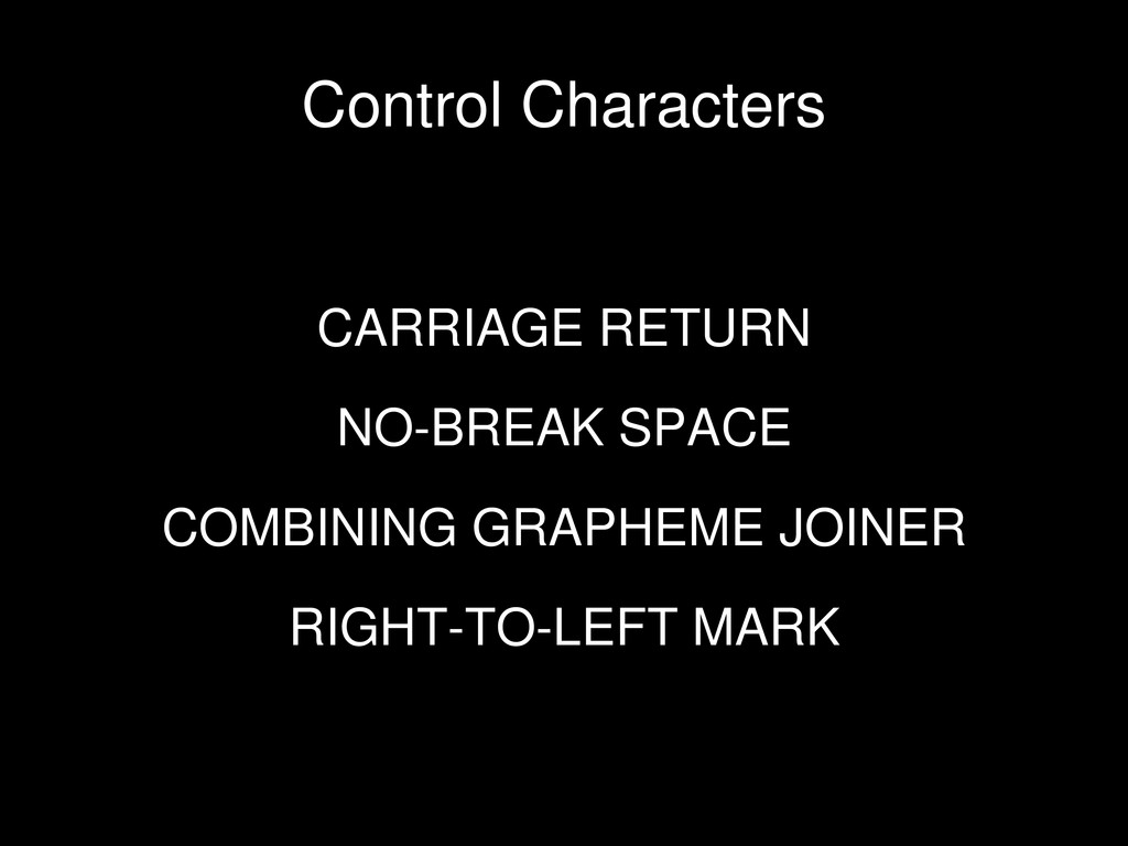 CARRIAGE RETURN NO-BREAK SPACE COMBINING GRAPHE...