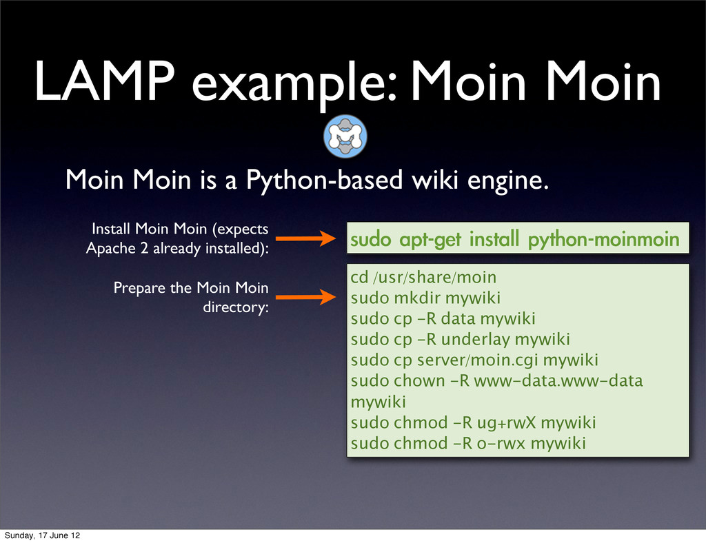 LAMP example: Moin Moin Moin Moin is a Python-b...