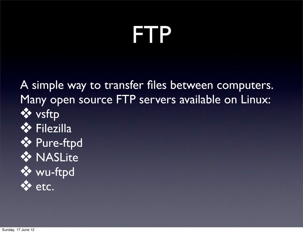 FTP A simple way to transfer files between compu...