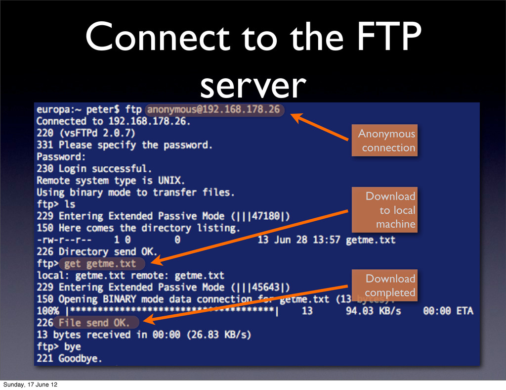 Connect to the FTP server Anonymous connection ...