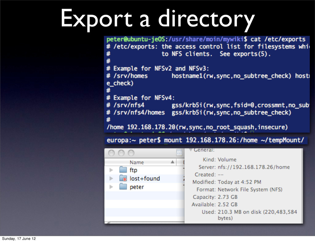 Export a directory Sunday, 17 June 12