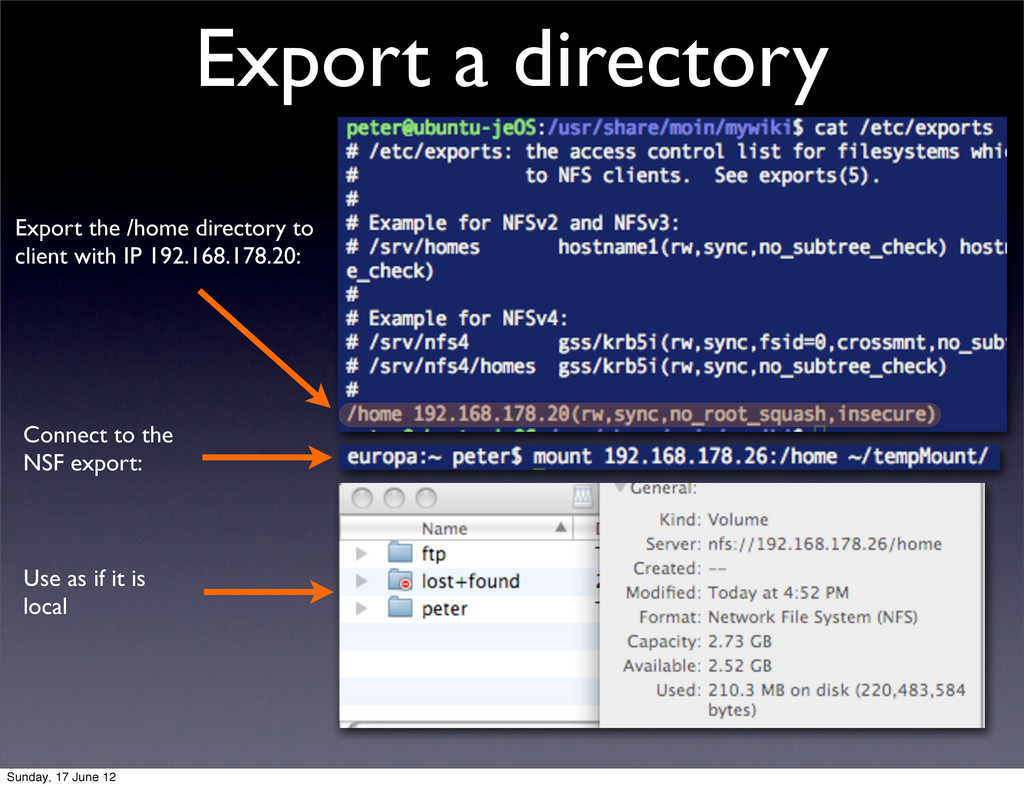 Export a directory Export the /home directory t...