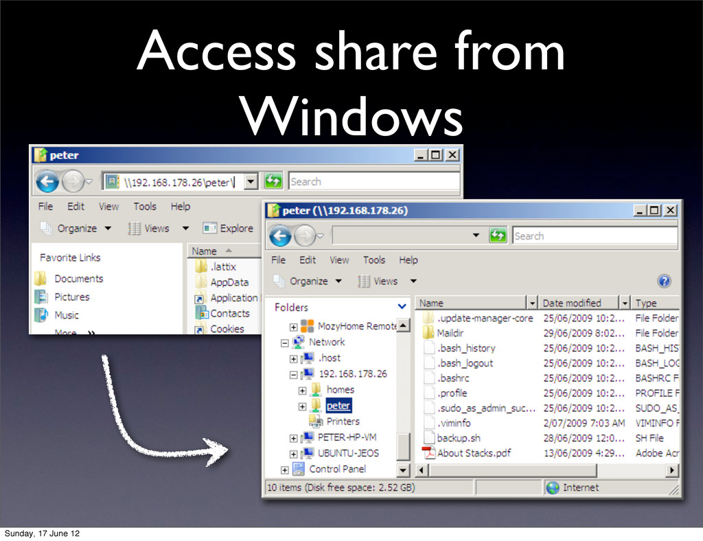 Access share from Windows Sunday, 17 June 12
