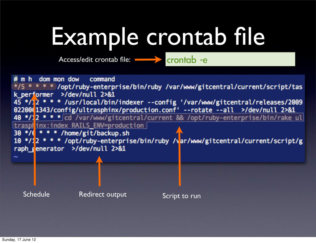 Example crontab file crontab	 -e Access/edit cro...