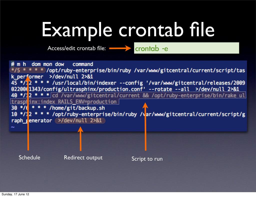 Example crontab file crontab -e Access/edit cro...