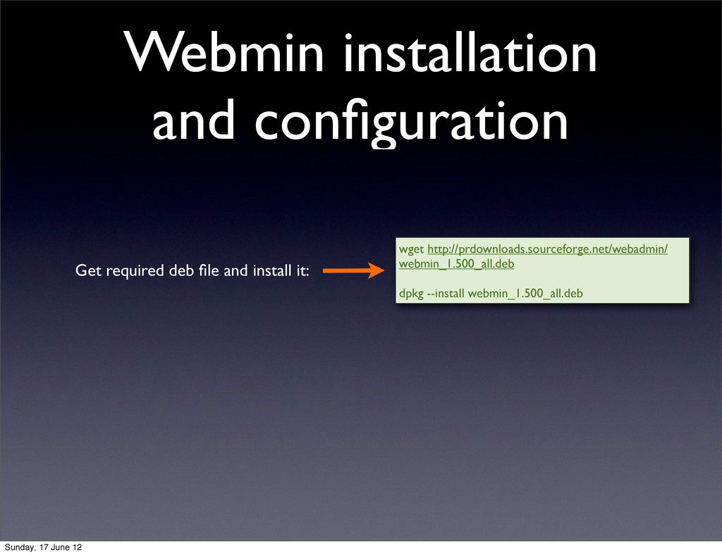 Webmin installation and configuration wget http:...