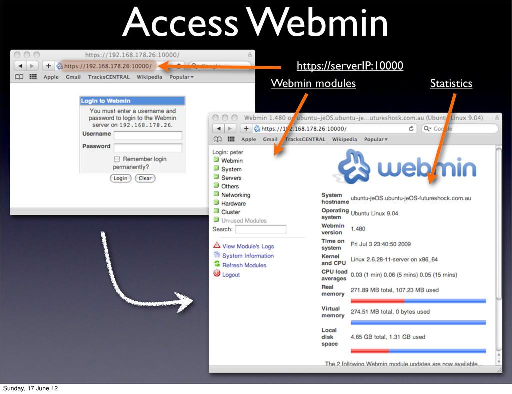 Access Webmin https://serverIP:10000 Webmin mod...