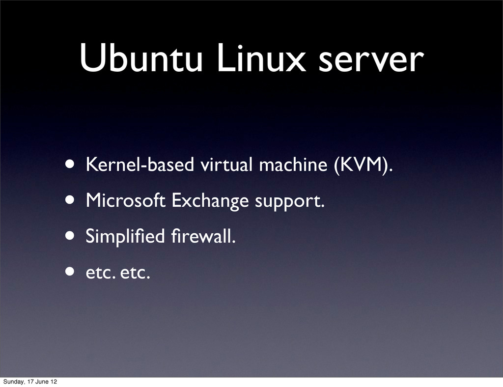 Ubuntu Linux server • Kernel-based virtual mach...
