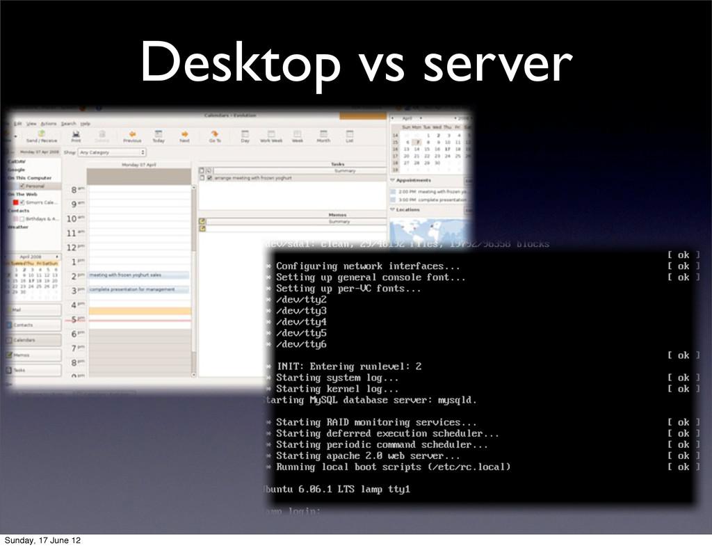 Desktop vs server Sunday, 17 June 12