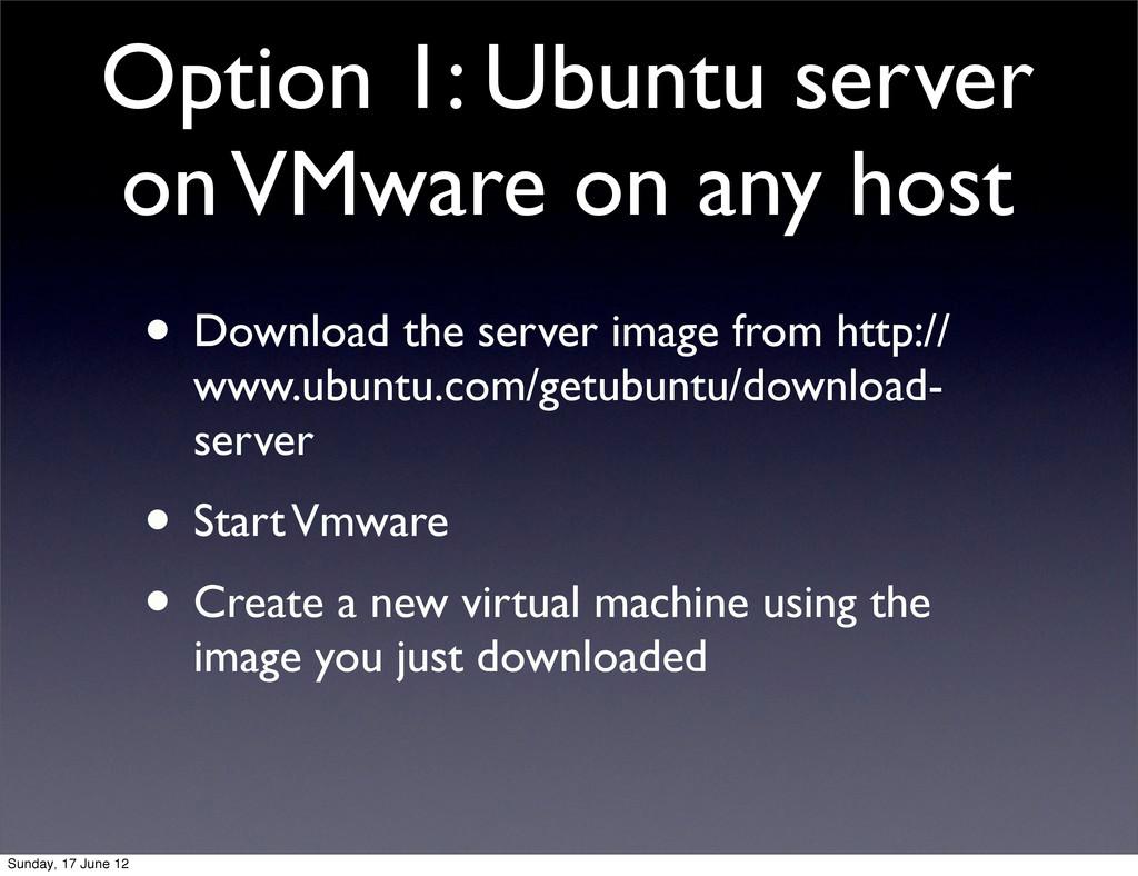 Option 1: Ubuntu server on VMware on any host •...
