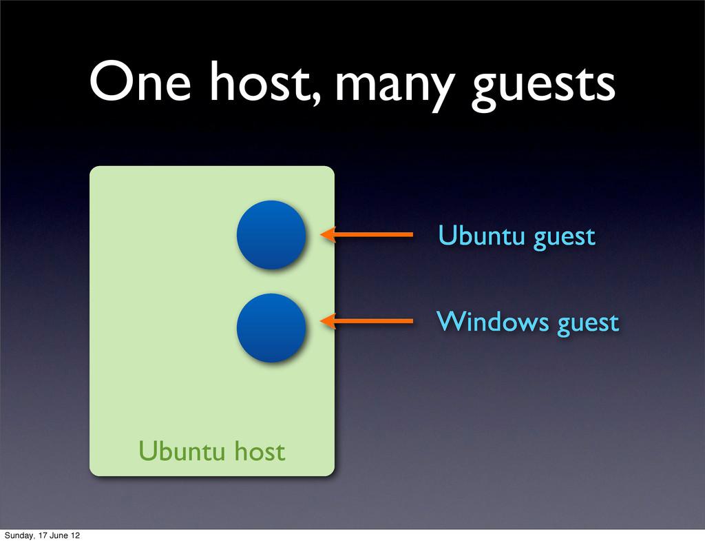 One host, many guests Ubuntu host Ubuntu guest ...