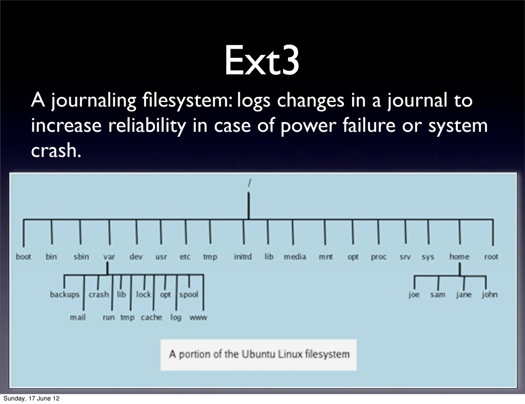 Ext3 A journaling filesystem: logs changes in a ...