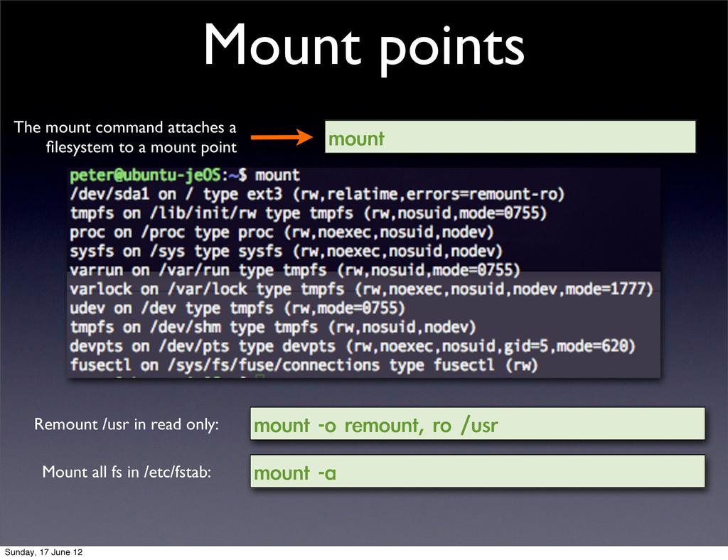 Mount points mount mount -o remount, ro /us...