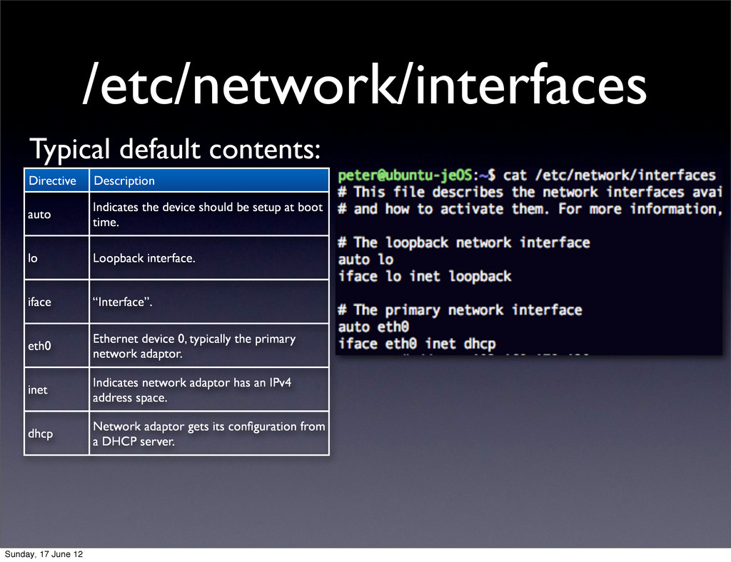 /etc/network/interfaces Typical default content...