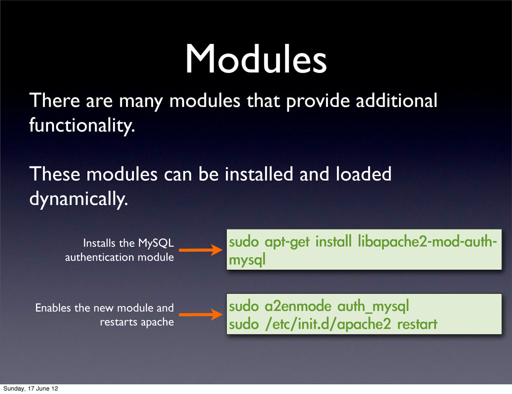Modules There are many modules that provide add...