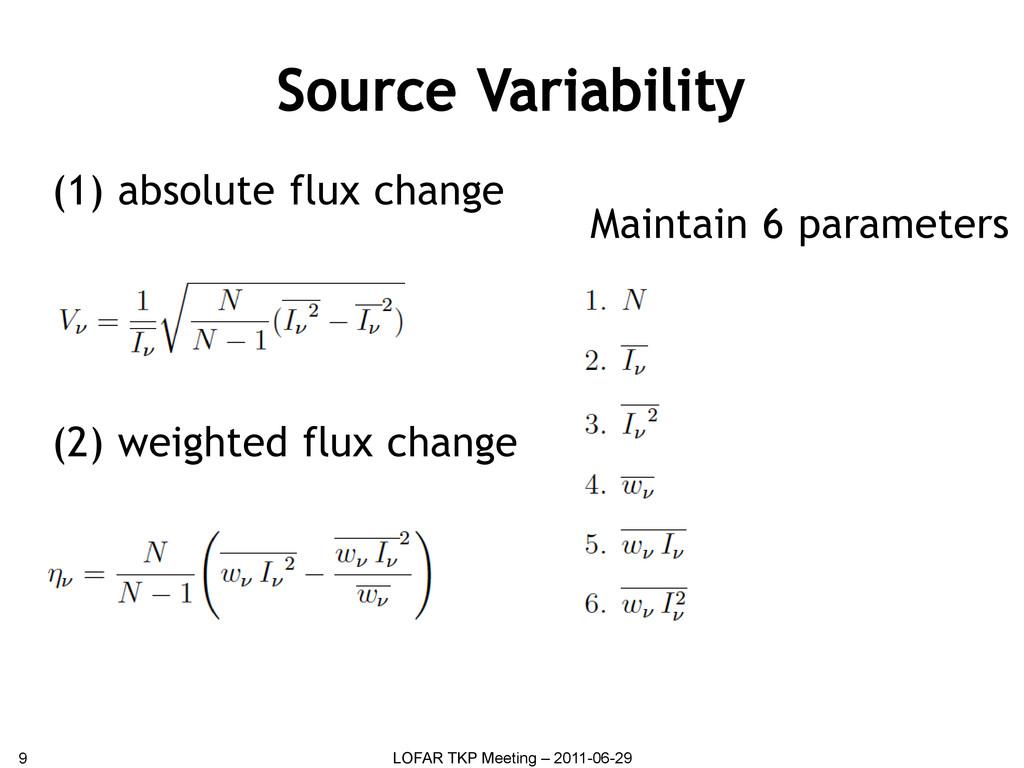 Source Variability 9 LOFAR TKP Meeting – 2011-0...