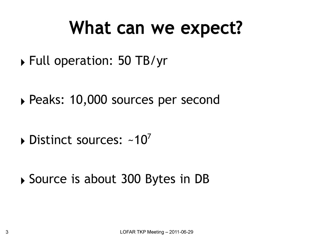 What can we expect? ▸ Full operation: 50 TB/yr ...