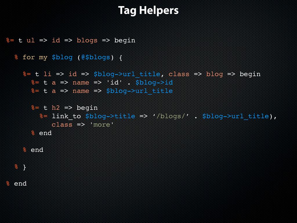 Tag Helpers %= t ul => id => blogs => begin % f...