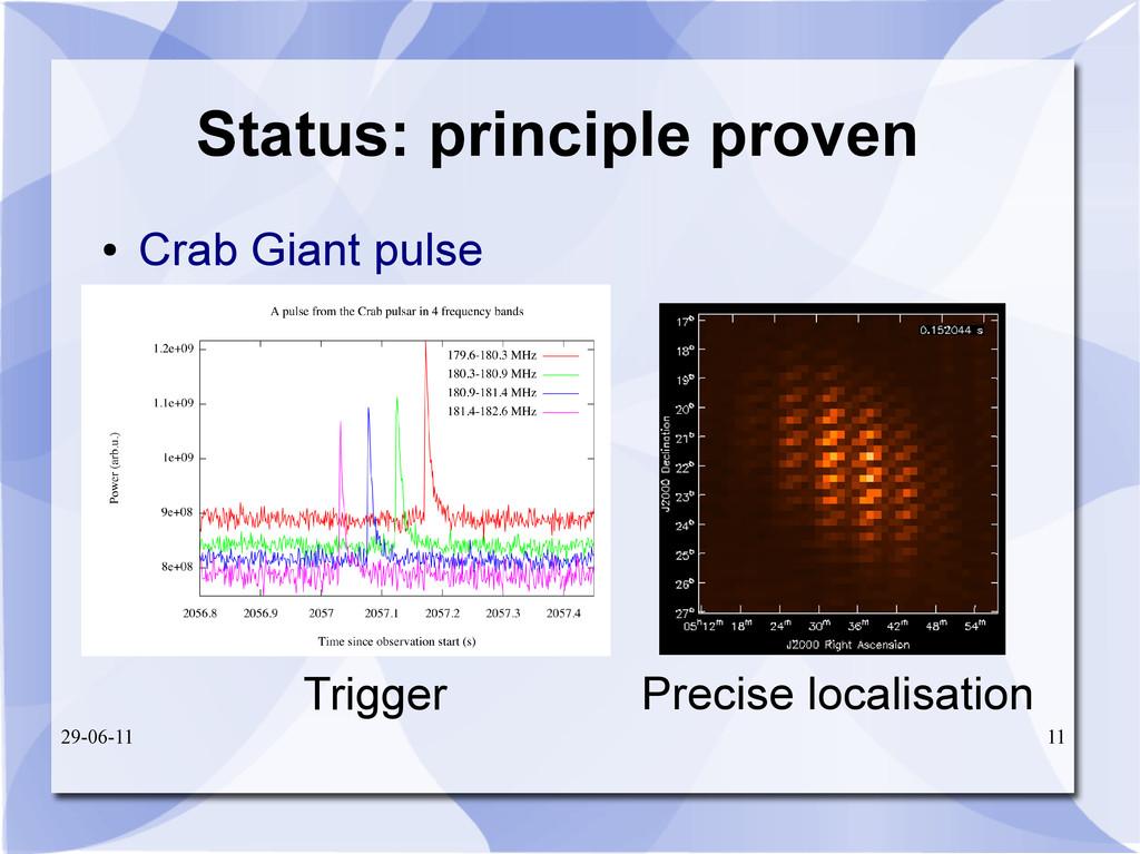 29-06-11 11 Status: principle proven ● Crab Gia...