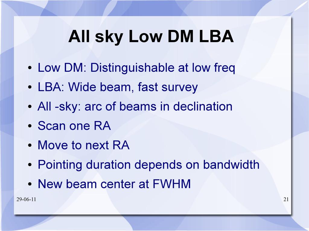29-06-11 21 All sky Low DM LBA ● Low DM: Distin...