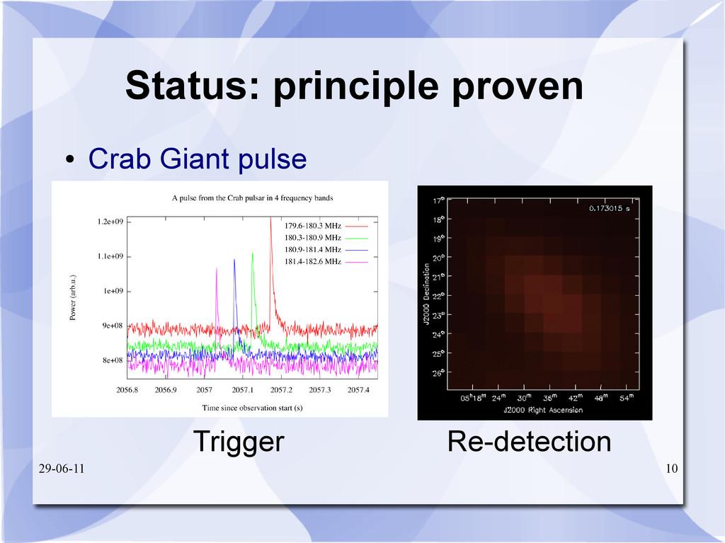 29-06-11 10 Status: principle proven ● Crab Gia...