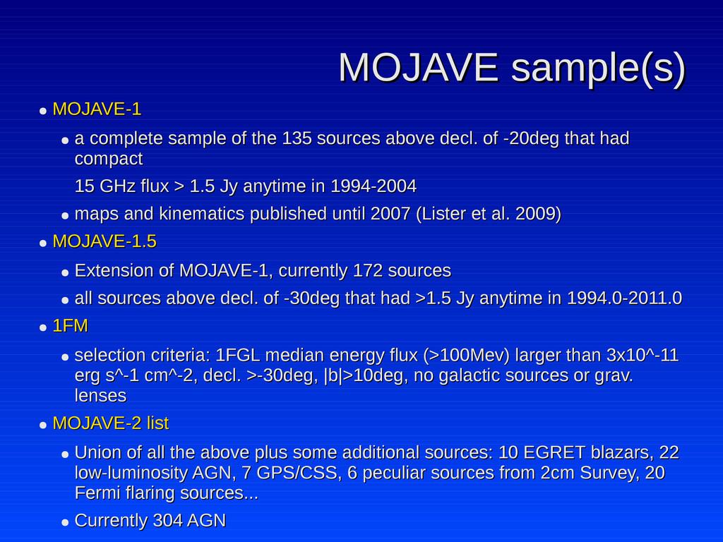 MOJAVE sample(s) MOJAVE sample(s) ● MOJAVE-1 MO...