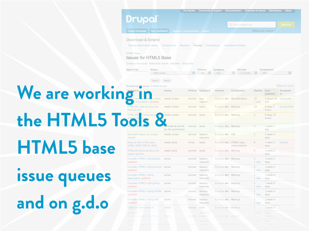 We are working in the HTML5 Tools & HTML5 base ...