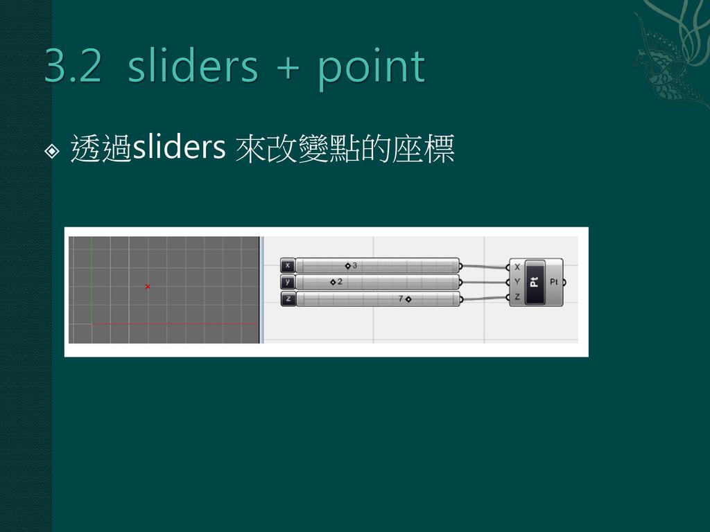  透過sliders 來改變點的座標