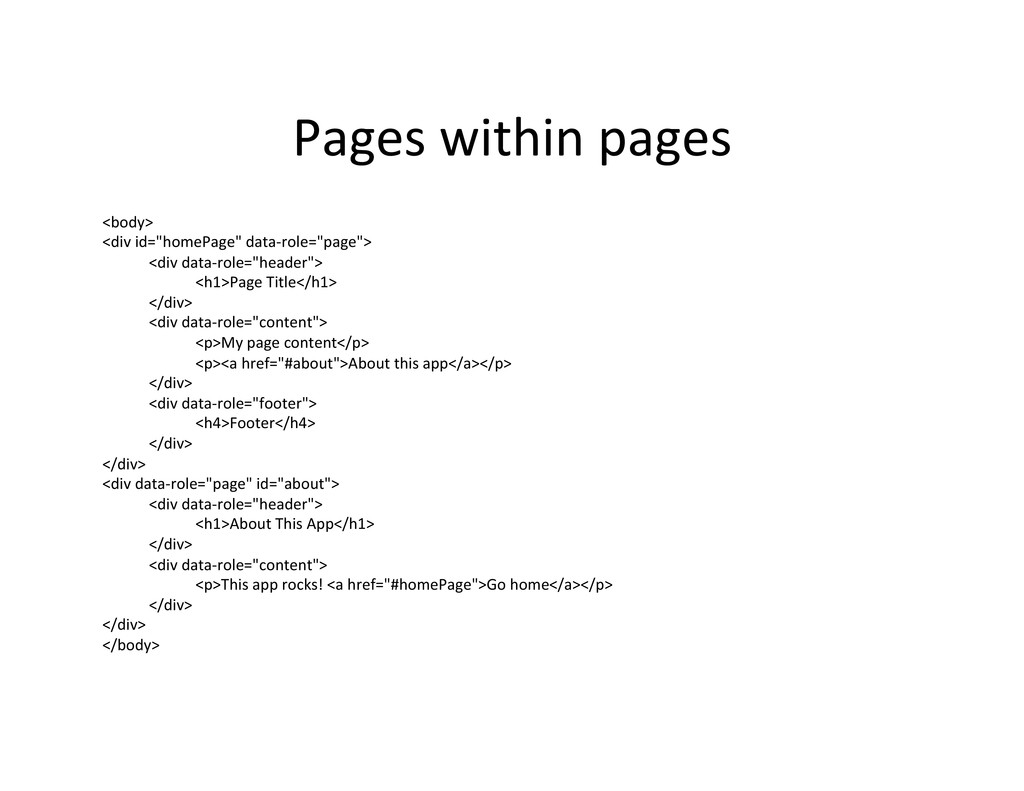 Pages within pages  <body>  <div ...