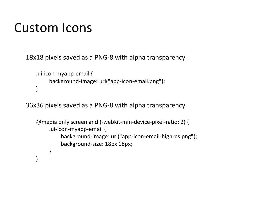 Custom Icons  18x18 pixels saved ...