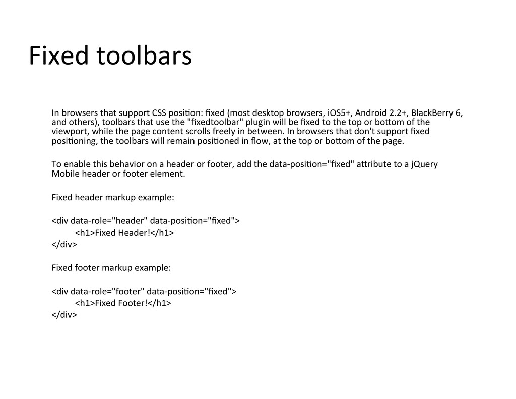 Fixed toolbars  In browsers that ...
