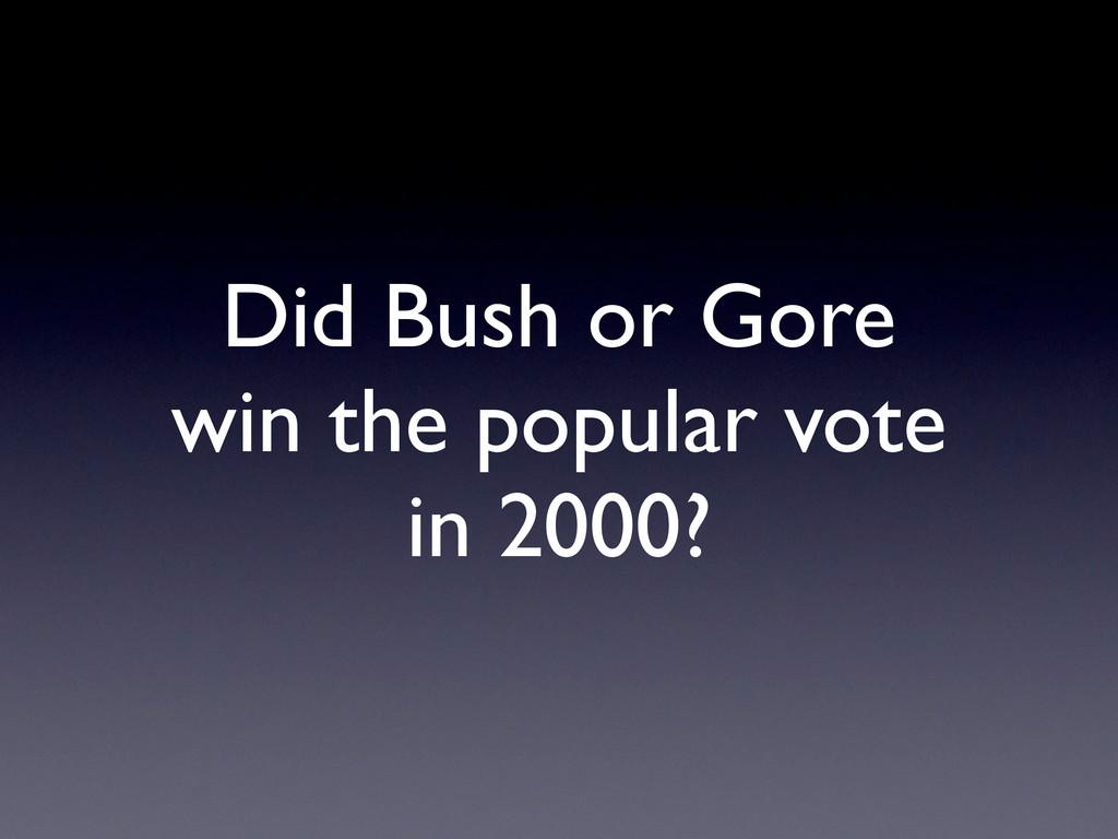 Did Bush or Gore win the popular vote in 2000?